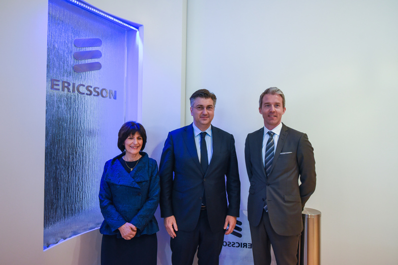 Predsjednica ENT, premijer Plenković i Per Narvinger odgovoran za kupce u Sjevernoj i Srednjoj Europi, Ericsson / ENT president, prime minister Plenković and Per Narvinger Head of Customer Unit Northern & Central Europe, Ericsson